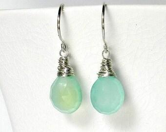 Blue Drop Earring, Aqua Drop Earring, Gemstone, Wire Wrapped Seafoam Sterling Silver