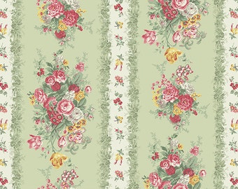 Julia  Cotton Fabric Quilt Gate MR2180-12C Floral Stripe and Rose Bouquet on Green