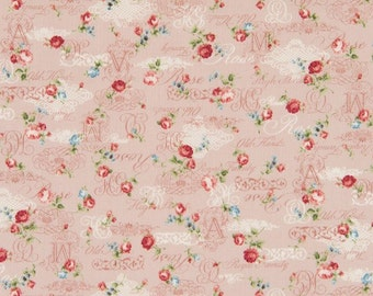 Cosmo Cotton Fabric  ap42401-1b Roses and scrript on mauve pink