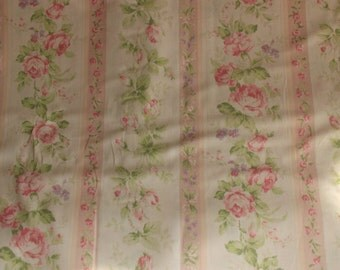 Yuwa Small Roses with Pale Pink Stripe HH812948A Cotton Fabric