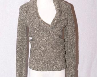 Gray Metallic Silver Sweater - Cowl Neckline