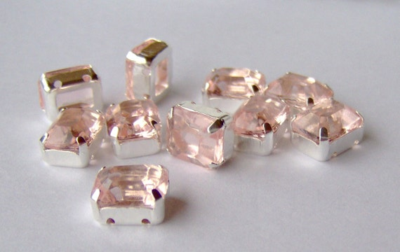 Pale pink 10x8 sew on rhinestones (10)