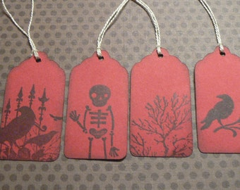 Hand Stamped Gothic Tags