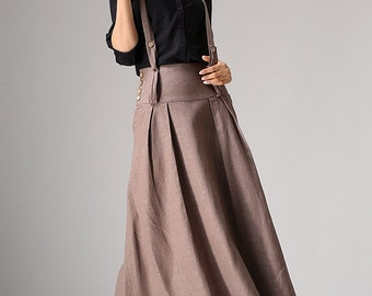 brown skirt, linen skirt, spring skirt, skirt with pockets, maxi skirt, casual skirt, pleated skirt, womens skirts, fashion clothing (1033)