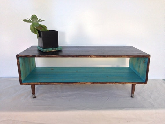 Items similar to custom handmade mid century teal or for Teal coffee table