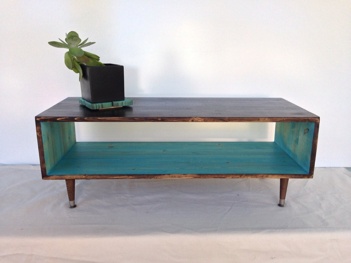 Custom handmade mid century teal or custom by tinylionsdesigns for Teal coffee table