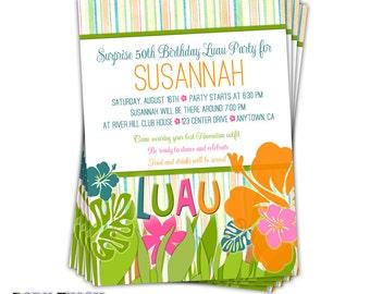 Summer Luau Beach Party Invitation • Birthday Luau Party Invite • Engagement Luau Party • BBQ Barbeque Luau • Set of 10