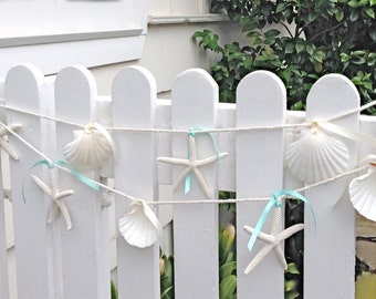 Beach Decor - Starfish and Seashell Garland - 6ft. - Beach Wedding Decor, Beach Garland, Christmas Beach Garland, Starfish Garland