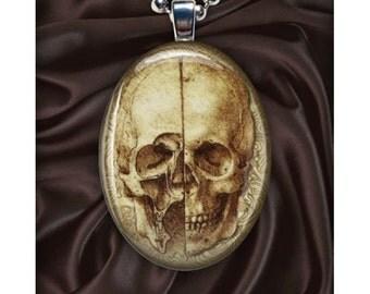 Dr. Jekyll and Mr. Hyde art pendant - Art Skull - Cranium - Oval - Vintage Illustration - Silver Pendant Necklace - Mad Scientist