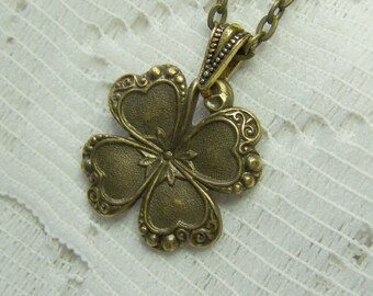 Antiqued Golden Bronze CLOVER Necklace, Lucky Charm, Irish jewelry, four leaf clover, LUCKY SHAMROCK pendant