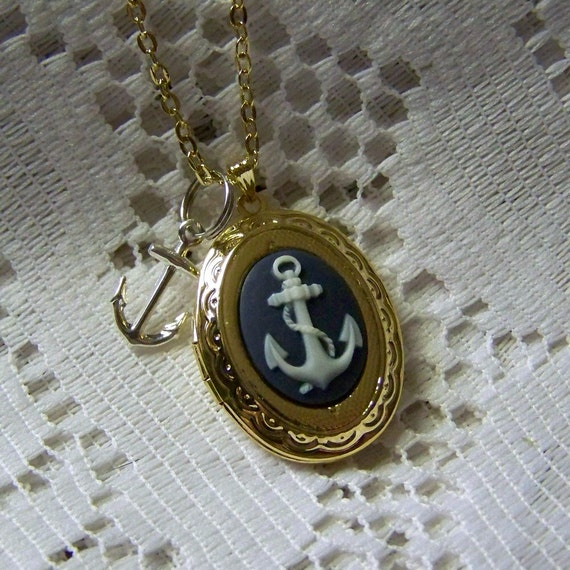 Anchor Locket Necklace,Anchor Pendant, Gold and Navy, Navy Blue & White Nautical Cameo, Gold Locket with charm, Maritime, sorority jewelry,