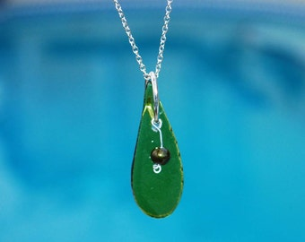 Recycled Green Wine Bottle Teardrop Pendant with Green Glass Bead