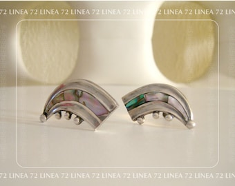 Signed Mid Century Mexico Sterling Earrings Inlaid with Abalone Shell