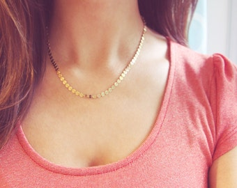 Gold Shimmer Necklace | Simple Gold Coin Necklace | 14kt Gold Filled OR Sterling Silver