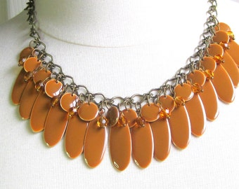 Caramel colored metal teardrop bib style necklace with crystals - statement jewelry, smooth, sleek, fall, casual, dressy, gift for her