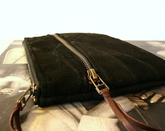 Midnight Black Suede Leather Zipper Clutch