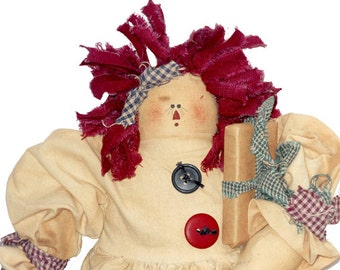 Christmas Rag Doll, Rag Dolls, Christmas Doll, Tea Dyed Rag Doll, Raggedy Ann, Primitive Doll, Soft Sculpture Doll, Doll by NewYorkTreasures