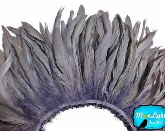 Plumes de vrais cheveux, bande de 2.5 pouces - gris enfilées agent de blanchiment naturel queue de coq plumes: 3558