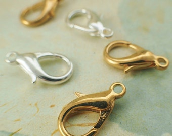 4 Lobster Clasps - Teardrop Style - Silver or Gold Plated Brass - Large 16mm X 10mm - 100% Guarantee