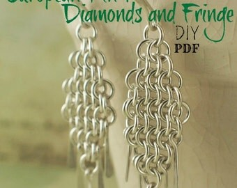 European 4 in 1 Diamonds and Fringe Chainmaille Earring Tutorial - PDF