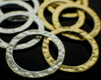 4 Premium Hammered Round Components - 24mm - Gold Plated or Silver Plated - 100% Guarantee