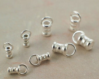 One Set of 2 ARGENTIUM Sterling Silver Cord Crimp Ends - 1mm, 1.5mm, 2mm, 2.5mm OR 3mm - Made in the USA