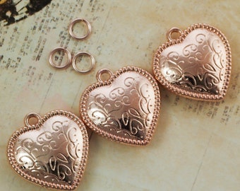 SALE -  2 Rose Gold Plated Pillow Heart Charms - Pendants - 21mm - Matching Jump Rings Included - 100% Guarantee