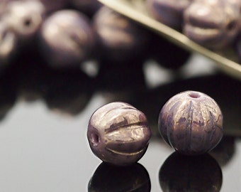 15 - 8mm Melon Beads - Opaque Amethyst Marbled Gold Corrugated Czech Glass Rounds -100% Guarantee