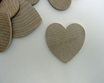 """25 Wooden hearts 1 3/4 inch (1.75"""")  wide 1/8"""" thick unfinished wood hearts diy"""