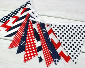 Banner Bunting, Photography Prop, Fabric Flags, Nautical Nursery Decor, Baby Shower - Red, Navy Blue, Chevron, Anchors