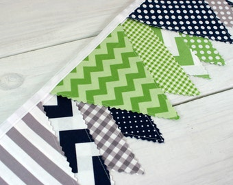 Bunting Banner, Photography Prop, Fabric Flags, Nursery Decor, Birthday Decoration, Garland, Pennant - Green, Gray, Navy Blue, Grey, Chevron