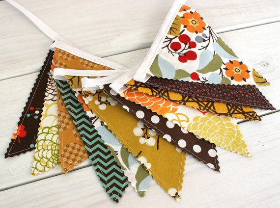 Bunting Banner Flags, Autumn Decor, Fall Decoration, Photo Prop, Thanksgiving Decor - Mustard Yellow, Pumpkin Orange, Chevron, Flowers