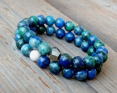 Azurite Chrysocolla Bracelet / Vibrant Blue and Green / Earthy Genuine Gemstones / Stacking Stretch Statement Jewelry