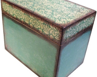 Recipe Box, Decoupaged, Teal Blue Damask Box, Large Handcrafted Kitchen Storage, Organization Box, Holds 4x6 Cards  MADE To ORDER