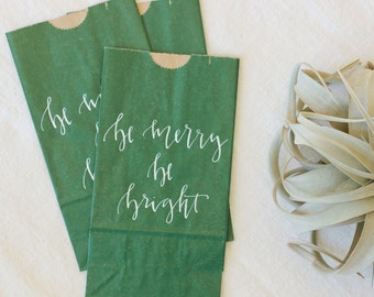 20 Holiday White and Green Calligraphy Favor Bags