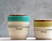 stoneware kitchen canisters  sugar jar flour jar spices