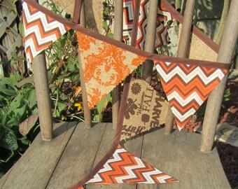 Orange Damask/Fall Harvest Burlap and Brown, Orange and Cream Chevron Fabric Banner/Bunting