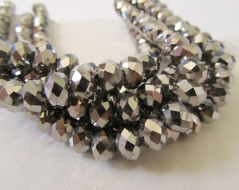 Silver Metallic Coated Crystal Faceted Rondelles Full Strand