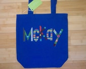 LARGE Personalized Kids Tote Bag - NAVY BLUE