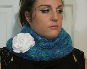 Children or Adult warm thick in the round scarf Hand Crochet by me