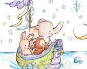 Sailing by Starlight. PRINT 8X10. Nursery Decor Children's Art