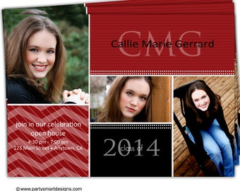 Digital File Print it Yourself/Photo Graduation Invitation Announcement/you can change the colors/Callie design