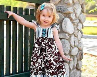 Flutter Sleeve Spring Dress, Girls Spring Dress, Aqua and Brown Floral Dress, Girls Floral Dress, Aqua and Brown, Spring Dress, Girls Dress