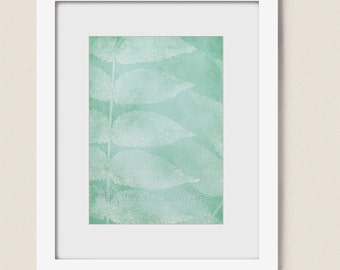 Sea Foam Green Leaf Home Decor, 5 x 7 Dining Room Living Room Wall Art,  Nature Art Print for Wall (126)