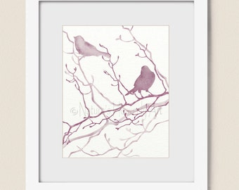 Bird Art Print Nature Wall Decor for Home, 8 x 10 Pink Bathroom Wall Art, Bird Artwork for Office Burgundy and Mauve (316)