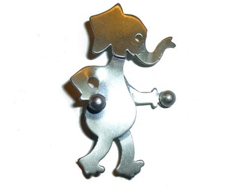 Vintage Beau Sterling Silver  Elephant Pin. Boxing GOP Elephant.