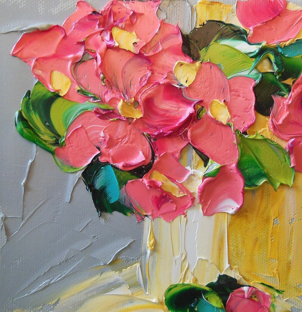 Abstract painting pink floral oil painting wall decor for Flower paintings on canvas