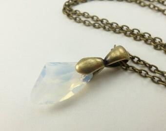 Opal Birthstone Pendant Opal Crystal October Birthstone Opal Pendant Birthstone Antiqued Brass