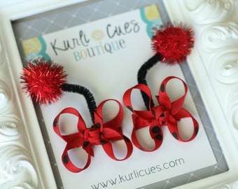 Itty Bitty Ladybug Antennae Hair Bow Clips - Red and Black Dots - Birthday Halloween Costume - ladybug hair bows