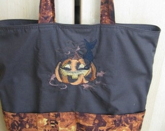Black Cat and Pumpkin and Witch Hat Eco Friendly Tote, Purse, Bag